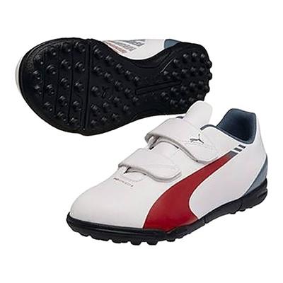 プーマ (PUMA) ジュニア エヴォスピード 5.3 TT V JR(ホワイト×シーパイン×ハイリスクレッド) 103129-06 [分類:サッカー トレーニングシューズ]の画像