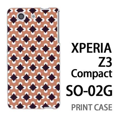 XPERIA Z3 Compact SO-02G 用『No3 丸四角ドット 茶』特殊印刷ケース【 xperia z3 compact so-02g so02g SO02G xperiaz3 エクスペリア エクスペリアz3 コンパクト docomo ケース プリント カバー スマホケース スマホカバー】の画像