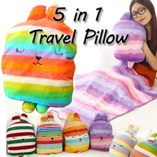 Craftholic 5 in 1 multipurpose Travel Pillow etc Baby Blanket kids toy CHRISTMAS GIFTS back cushion hand warmer/travel/cold wear