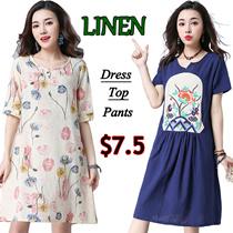 23/5 New national art style Woman linen dress/maternity/Suit linen dress female/Pregnant women jacke