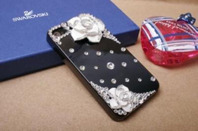 iPhone4S/4 オシャレケース 花付き(ブラック)の画像