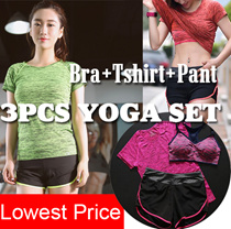 3 pcs Yoga Set / Sports Set / Running Attire Lowest price Runing set sports bra+pants+T-shirt  3pcs Ladies Sports suit  Free shipping