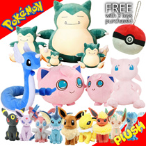 Plush Toys Galore! - Buy 3 Toys and Get a Pokeball Bag Charm FREE!