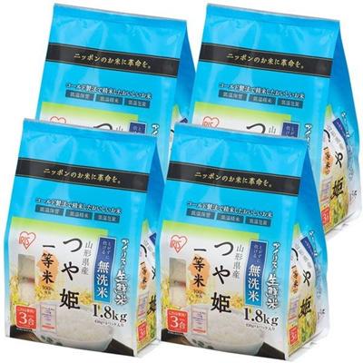 生鮮米 無洗米 山形県産 つや姫 7.2kg(1.8kg×4個入り) 手軽に炊ける無洗米♪☆一等米100%使用!の画像