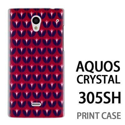 AQUOS CRYSTAL 305SH 用『0317 花の芽ドット 赤』特殊印刷ケース【 aquos crystal 305sh アクオス クリスタル アクオスクリスタル softbank ケース プリント カバー スマホケース スマホカバー 】の画像