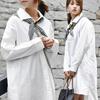 【GOGOSING】ホワイト無地シャツワンピース☆レディーストップス レディースシャツ ゆったりサイズ☆