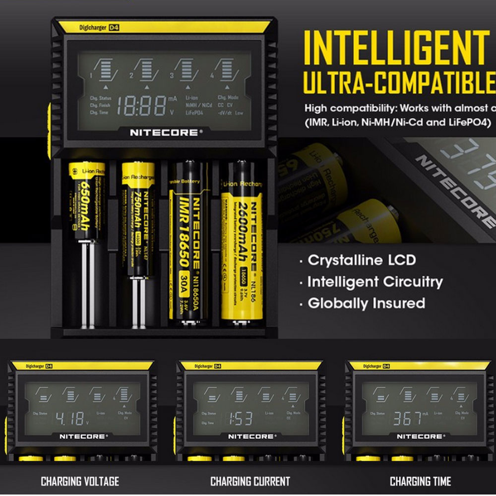 【クリックで詳細表示】Battery Charger Nitecore D4 Digicharger LCD Display Intelligent 2.0 Fit LI-ion 18650 14500 16340 26650 Ni-Cd AA,AAA,AAAA,C