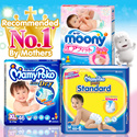 [Unicharm] MAMYPOKO/MOONY/MOONYMAN Diapers: Quality leak-proof fresh-smelling and gentle on the skin/Easy to put on making it convenient and comfortable