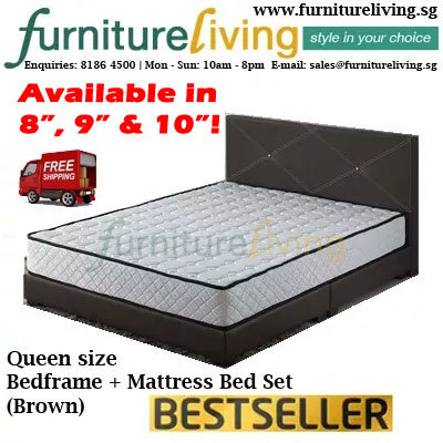 Qoo10 Furniture Living Sg New Queen Size Bedframe 8 Inch Mattress Packag Furniture Deco