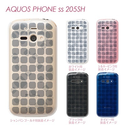【AQUOS PHONE ss 205SH】【205sh】【Soft Bank】【カバー】【ケース】【スマホケース】【クリアケース】【チェック・ボーダー・ドット】【トランスペアレンツ】【タイル】 06-205sh-ca0021qの画像