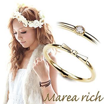 MarearichマレアリッチマレアリッチK10リボンモチーフ・ダイヤ2WAYピンキーリングゴールド×ダイヤモンド3号10KJ-17arma00033l