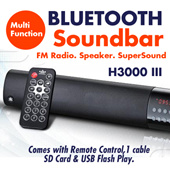Brand New H3000 III Bluetooth Soundbar Stereo Speaker for Smartphone Ipads FM radio SD Card USB Flash DiskPlay Card Reader
