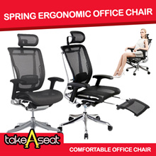 Ergonomic Office Chair [SPRING LUXURY] US PATENT DESIGN ADD LEG rest option