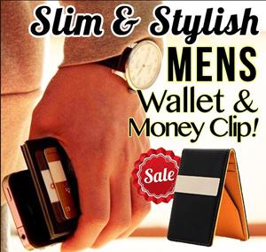 designer money clip wallet p4qc  Mens Money Clip Wallet! Slim Quality PU Leather Material