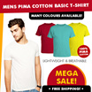 Best Price Guaranteed- Mens 100% Pima Cotton Basic T-Shirt- High Quality! LightWeight! Breathable!