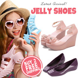 Update!New Arrivals Hot Selling Jelly Shoes women shoes Summer Favourites Ribbon Jelly Heels Sandals Wedges