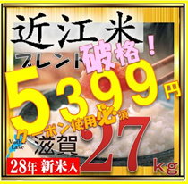 ★1000円クーポン使えます!26日まで!28年ブレンド米!27kg !滋賀県で収穫したお米です。滋賀県は琵琶湖に四方を囲む高い山々、豊かな自然に恵まれており、米作りに最適の環境のお米今回は安価タイプでご用意いたしました。