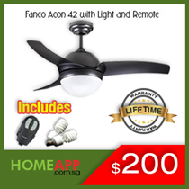 [HomeApp] ★★ FANCO A-CON ACON 42 52 ★★ Ceiling fan with Light and Remote. FREE BULBS / INSTALLATION