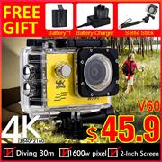 4K WiFi V60 Action Camera Waterproof Car Camera◎gopro