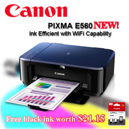 *CANON*  PIXMA E560 PRINTER     Ink Efficient with WiFi Capability