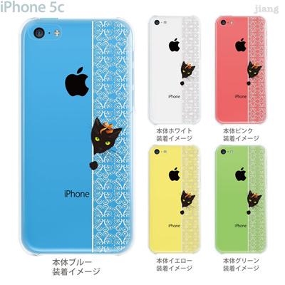 【iPhone5c】【iPhone5cケース】【iPhone5cカバー】【iPhone ケース】【クリア カバー】【スマホケース】【クリアケース】【イラスト】【クリアーアーツ】【ねこ】【レース】 01-ip5c-zec040の画像