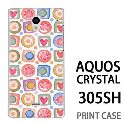 AQUOS CRYSTAL 305SH 用『0615 花Xハート』特殊印刷ケース【 aquos crystal 305sh アクオス クリスタル アクオスクリスタル softbank ケース プリント カバー スマホケース スマホカバー 】の画像