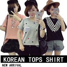 2017New Arrival Korean Blouse Casual Loose fit T-shirts/Basic Design T-shirts/Casual tops/Clothing/