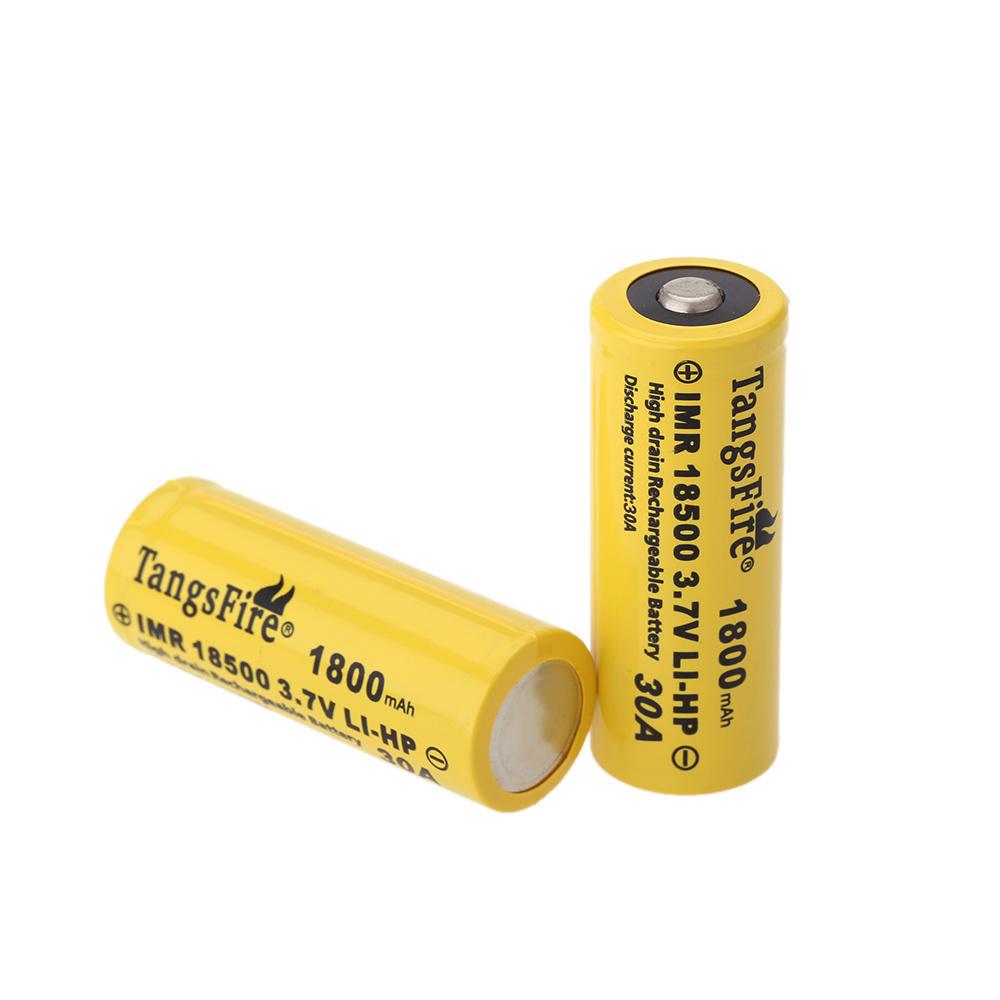 【クリックで詳細表示】TangsFire 2個18500 3.7V 1800mAhの30Aの充電式リチウムイオンバッテリー