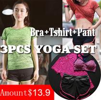 3 pcs Yoga Set / Sports Set / Running Attire Lowest price Runing set sports bra+pants+T-shirt  3pcs Ladies Sports suit  Free shipping