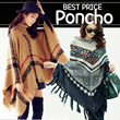 2015 Western Fashion Tassel Poncho Contrast Color Geometric Patchwork Pullover Batwing Loose Knitted Autumn Winter Women Sweater