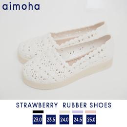 イチゴのラバーシューズ シューズ レディース 靴 サンダル ラバーシューズ ラクチン イチゴ イチゴ柄 レインシューズ 厚底 フラット