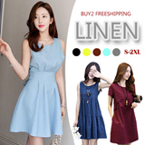 【BUY 2 FREE SHIPPING】Cotton Linen Dress Collection  S-3XL 10 Designs High Quality Offer