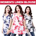 BREATHABLE SUMMER SALE*Women's linen blouse/ 2015 summer new arrival/ original design t-shirt/ short-sleeved shirt/ loose large t-shirt/ optional colors/ female/ lady/ cotton【M18】