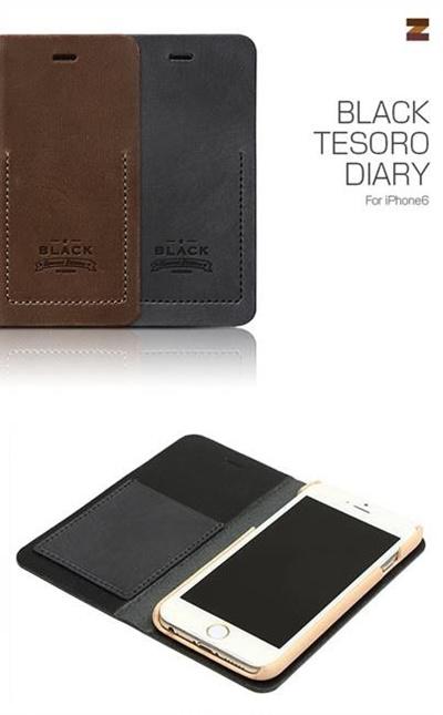 iPhone6カバーアイホン6 アイフォン6ケースiphoneケース アイフォン ブランド iphoneカバーiPhone6用 【iPhone6 4.7インチ 】ZENUS Black Tesoro Diary (ブラックテソロダイアリー)【メール便送料無料】の画像