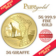 5g Wildlife Giraffe Gold Coin / 999.9 Pure Gold / Singapore Made Gold Coin / Premium Gifts / Collections / Souvenirs