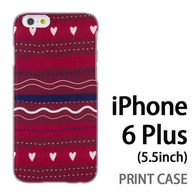 iPhone6 Plus (5.5インチ) 用『1220 ハートストライプ 赤』特殊印刷ケース【 iphone6 plus iphone アイフォン アイフォン6 プラス au docomo softbank Apple ケース プリント カバー スマホケース スマホカバー 】の画像