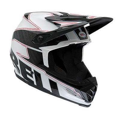 ベル(BELL) FULL9/フル9 ナイン ヘルメット 自転車 サイクリング MOUNTAIN MTB ホワイト/ブラックカーボンエンブレム M 55-57 2038437 【マウンテン ダウンヒル モトクロス フルフェイス バイク】の画像