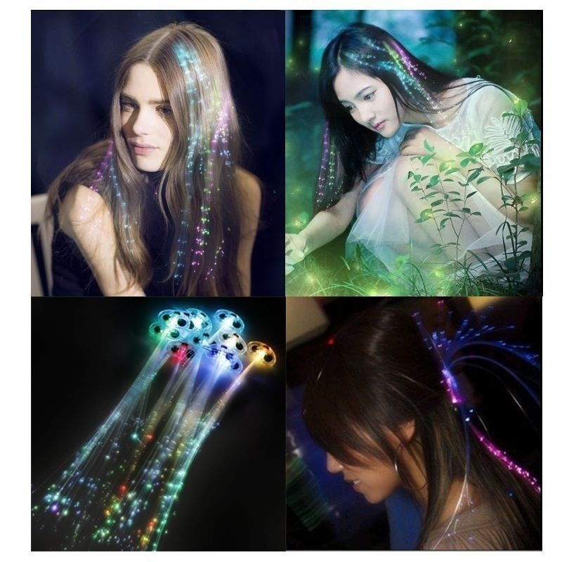 Qoo101pcs LED Hair Extensions Girls Gift Party Clip Pony Tail Fibre Optic Colour Light