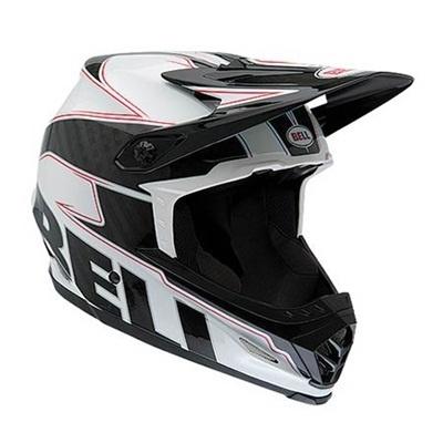 ベル(BELL) FULL9/フル9 ナイン ヘルメット 自転車 サイクリング MOUNTAIN MTB ホワイト/ブラックカーボンエンブレム L 57-59 2038438 【マウンテン ダウンヒル モトクロス フルフェイス バイク】の画像