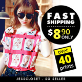 Loose fit short sleeve blouse / top over 40 prints #A011