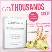 [CERAMIRACLE] 200 Qpoints Rebate!♥CLINICALLY PROVEN VISIBLE RESULTS!!!♥ White Tomato Extract ♥ Whitening ♥ Raved By Bloggers ♥ As seen on TV ♥ 30 veg caps/ box ♥ Intense Hydration♥