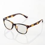 エレコムブルーライトカット眼鏡/クリアレンズ/ウェリントン/鼈甲[G-BUC-W01TT]
