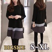 BLACKワンピース ★大きいサイズ XL~4XL★ 9分袖 ビッグサイズワンピース レディース ワンピース ブラックワンピース シークワンピース