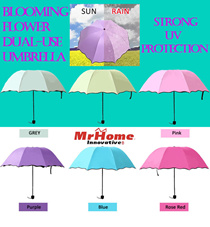 ★ Clearance SALES!! ★ Dual-Use Umbrella for Rain and Sun ★ High Intensity UV Protection ★ Flower Blooming Design ★ Flower Prints Appear When In Contact With Water ★ 7 Colours ★ MrHomeSG ★