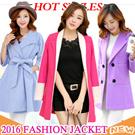 2016 New Women Overcoat / Dust coat / Fur Jacket / Spring Autumn Winter Jacket / Outerwear / Short coat / Pure color coat / Woolen coat