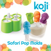 Koji Safari Pop Mold -  Easy to refill/ remove/ clean / Makes a healthy and fun snack for kids and adults using juice or yogurt or pudding / BPA and Phthalate free