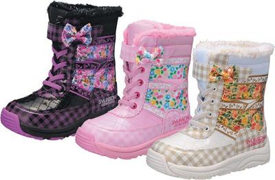 (A倉庫)瞬足レモンパイ W-122 子供スノーシューズ ウインターシューズ リボン スノーブーツ LEW1220 子供ブーツ キッズ 女の子の画像