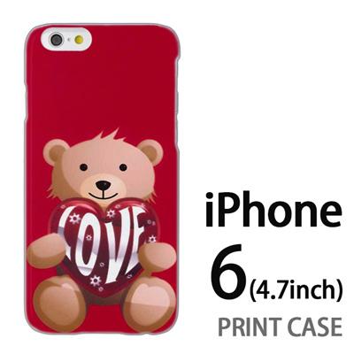 iPhone6 (4.7インチ) 用『0113 愛を抱えるクマ 赤』特殊印刷ケース【 iphone6 iphone アイフォン アイフォン6 au docomo softbank Apple ケース プリント カバー スマホケース スマホカバー 】の画像