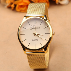 【Geneva】2015 top fashion women men Geneva watch gold silver nylon strap watches quartz analog wristwatch dress watch