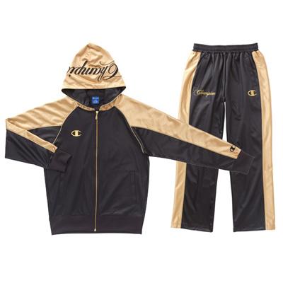 チャンピオン (champion) ウォームアップフードシャツパンツ上下セット(ブラック×ゴールド) CW1520-KG-CW1570-KG [分類:ジャージ 上下セット (メンズ・ユニセックス)] 送料無料の画像
